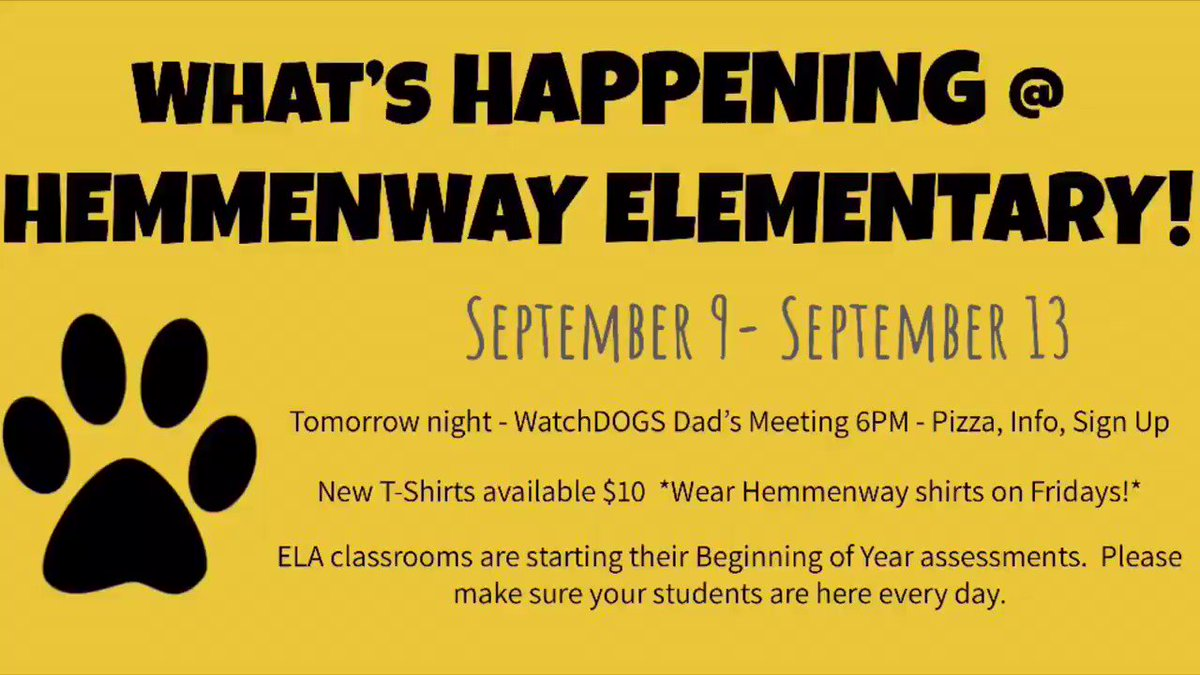 Sorry, Twitter friends! Here's what's happening at Hemmenway this week! #HemmenwayALLIN