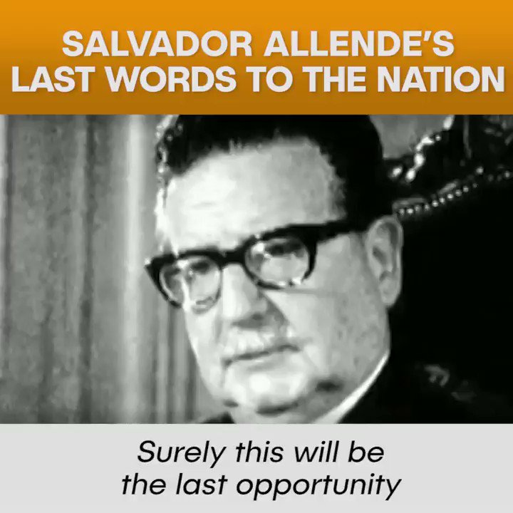 """""""History is ours, and people make history.""""Salvador AllendeChile - 1973#OnThisDay #SalvadorAllende #AllendeVive #Chile"""