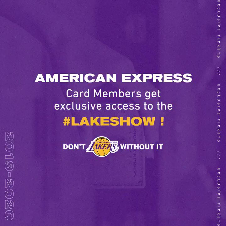 .@AmericanExpress Card Members – don't miss your chance to come see the #LakeShow. Card Members get access to exclusive single game tickets to some of the biggest games this season starting today at 10am PT. #AmexLife: http://bit.ly/2kItt63