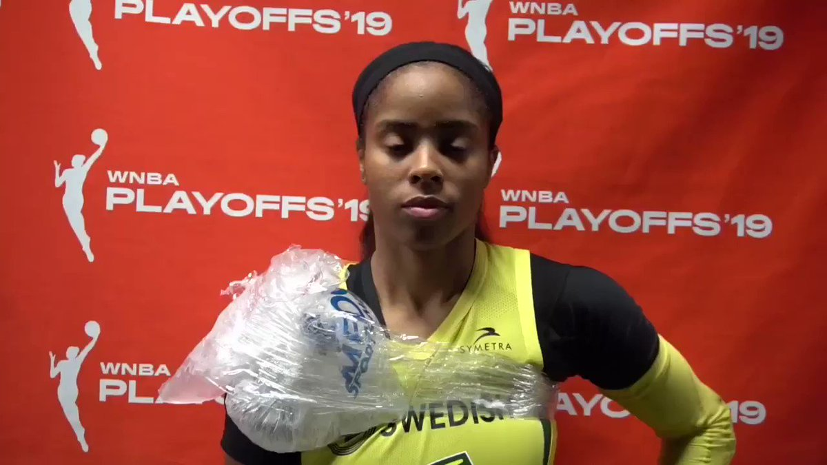 Postgame 🔊 with @jordin_canada after she notched a playoff career-high 26 PTS against Minnesota to help her team to the 2nd round of the #WNBAPlayoffs 🗣