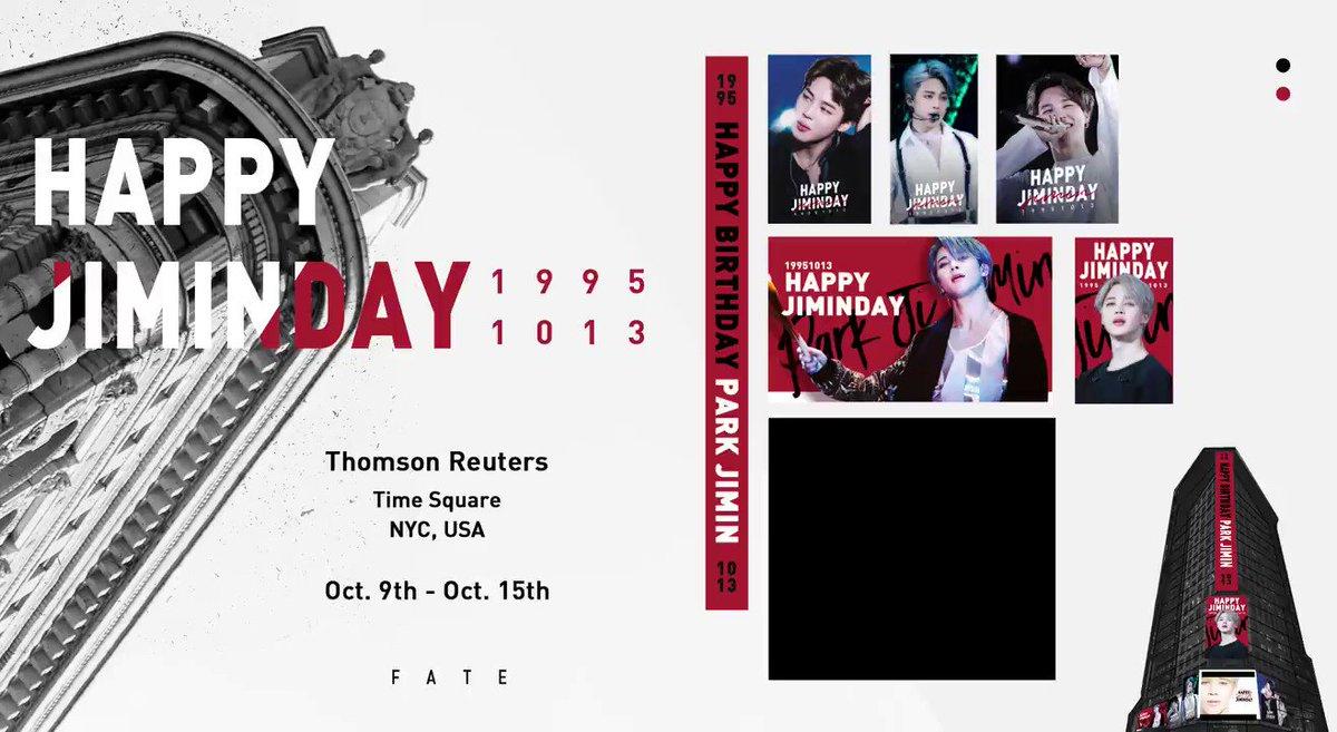 @BTS_twt @fate_jimin 2019 JIMIN BDAY SUPPORT pt. 1 / 7 1. Time Square: Thomson Reuters 7-day Ads ⏰2019.10.09 - 10.15 📍Time Square, NYC 안녕하세요, Fate입니다. 지민이의 25번째 생일을 축하하기 위해서 뉴욕 타임스퀘어에 위치한 열개의 스크린에 영상 광고를 진행 합니다💛 #지민 #JIMIN