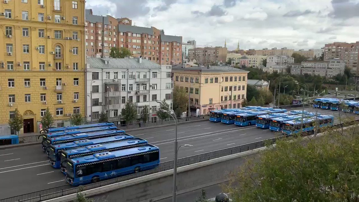 Your bus isn't late, it's just taking part in Moscow's absurd Parade of City Services Vehicles.