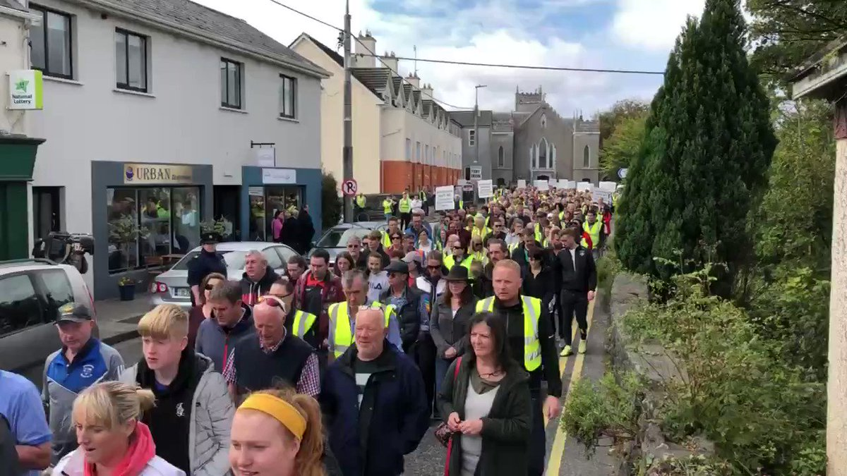 "And it starts in Ireland! 700+ citizens in Oughterard protested flooding their community with MORE ""refugees"". As expected, media slandered the concerned citizens.  Minister of State told citizens Ireland was obliged under EU & UN laws to accept refugees."
