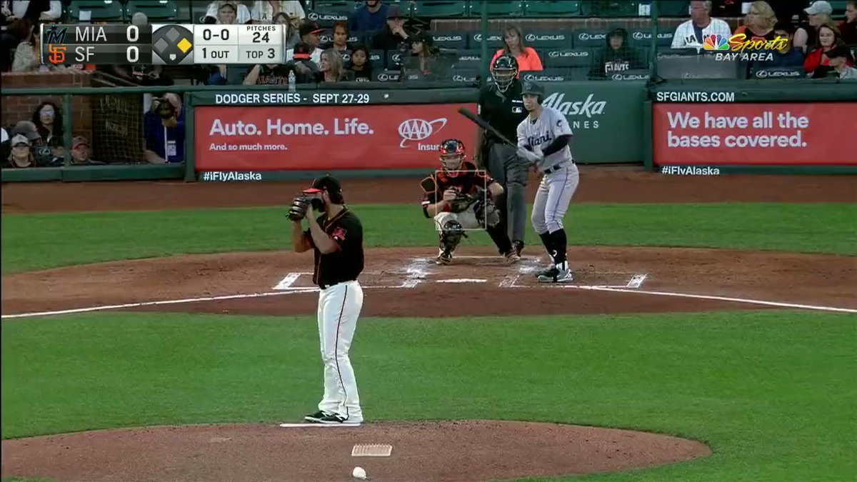 Umpire CB Bucknor was unable to track the ball as the batter showed bunt. He called a ball on a pitch that was well inside the zone. Madison Bumgarner did not take it well. #Giants v #Marlins