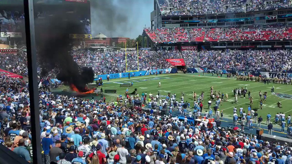 Video: Speaker Catches Fire On Field At Titans-Colts Game