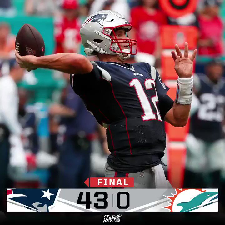 FINAL: The @Patriots shut out the Dolphins en route to a Week 2 victory! #NEvsMIA
