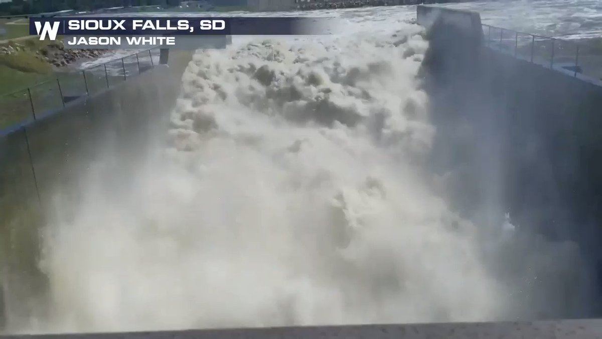 The Big Sioux River continues to run incredibly high.  Look at all the water pouring through Falls Park in Sioux Falls, SD.  The river is expected to remain in moderate flood stage through at least Wednesday!