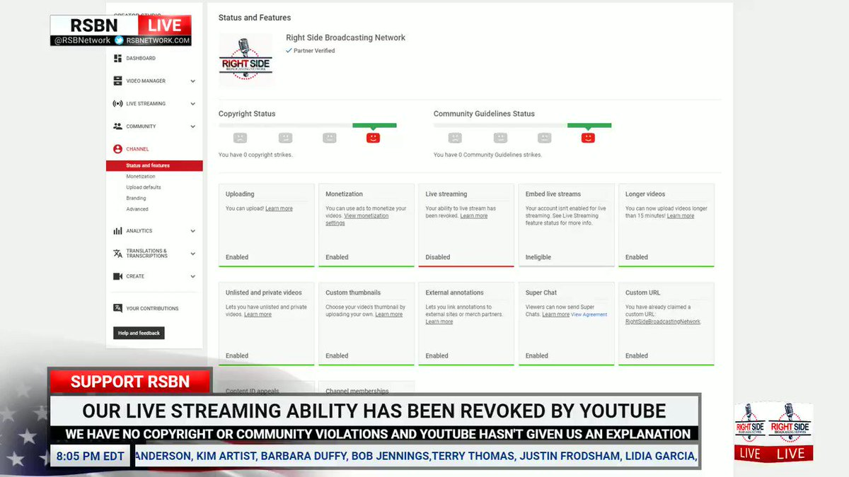 After 300 million + views of President @realDonaldTrump rallies and 4 years following the rules on YouTube, our live streaming ability was taken away with no explanation. We have ZERO copyright or community violations on our account. We are shocked. Why, @YouTube? #FreeRSBN