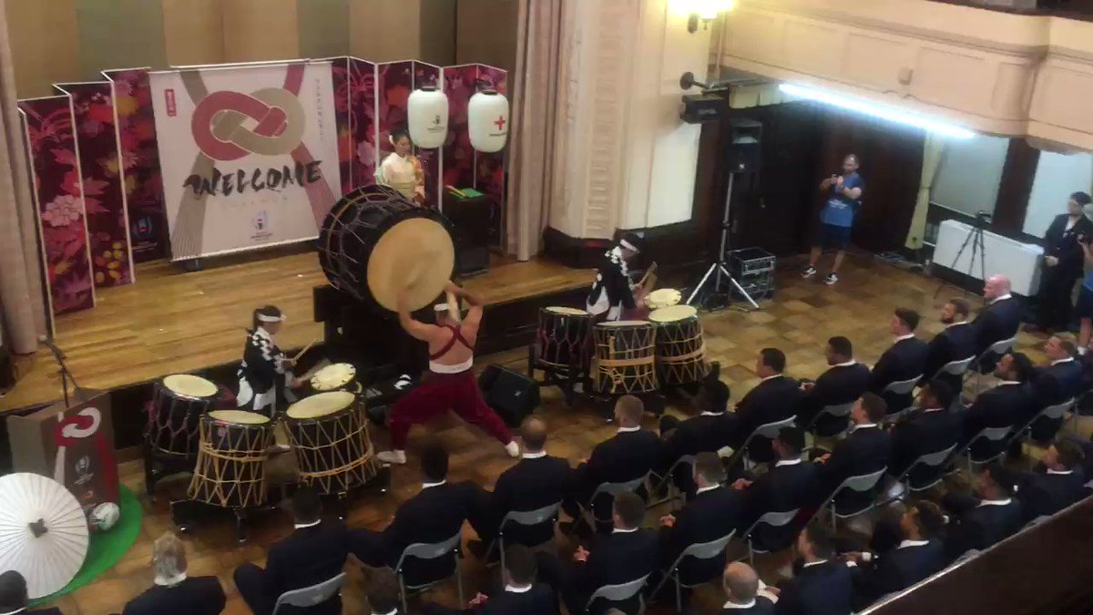 Pretty banging Rugby World Cup welcome ceremony for England in Japan