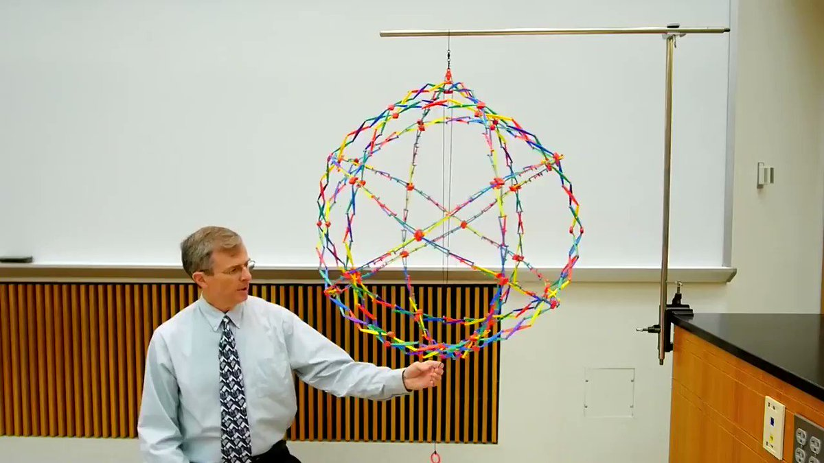 Neat demo of conservation of angular momentum using a Hoberman sphere!