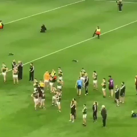 Just as his team mates are about to lift Sam on the steps of the Hogan Stand, Jonny Cooper is seen shaking the hand of every player and member of the Kerry backroom team. Pure class