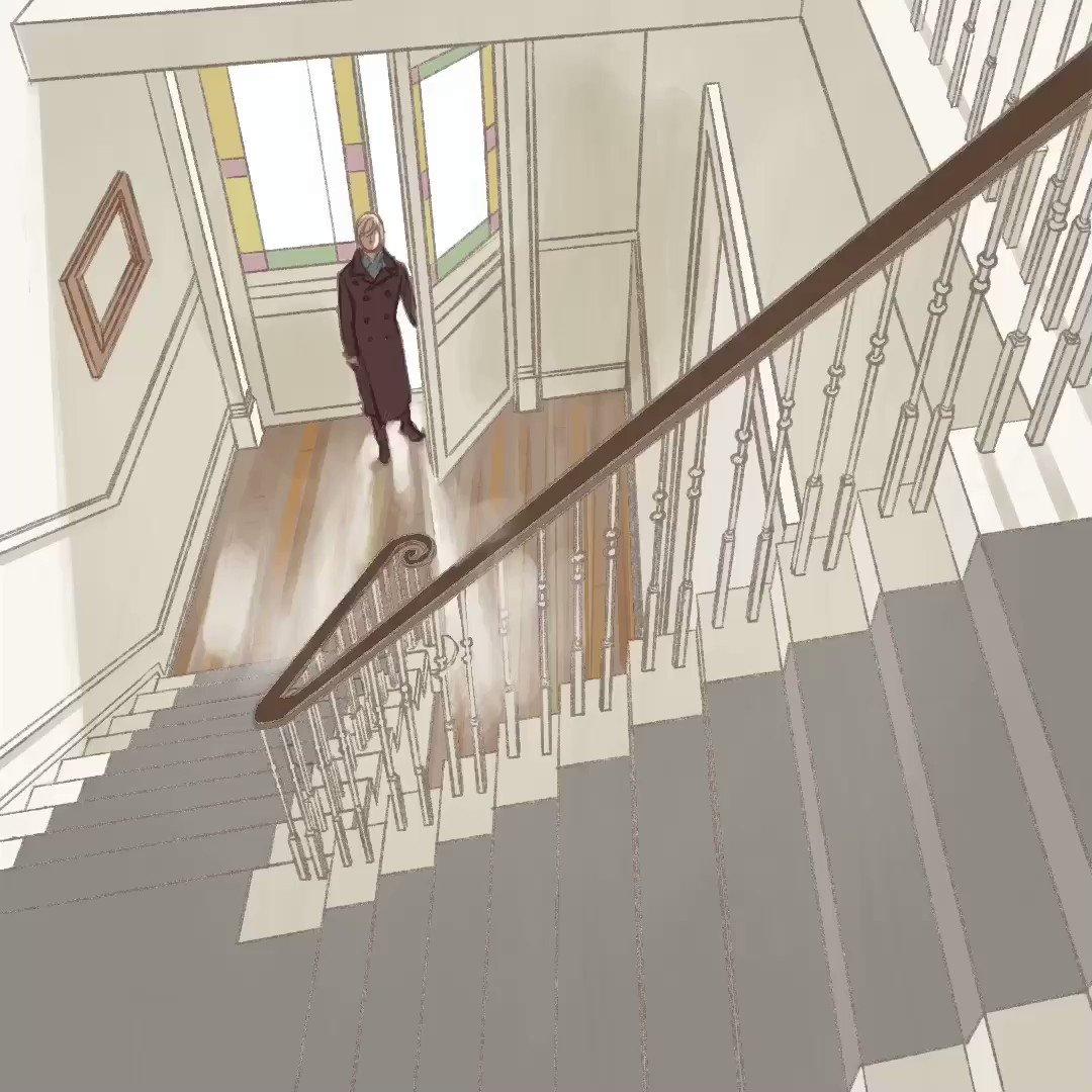 procreateは消失点が3つしか取れないんで階段はパースをつけて描けないんですが、画面内にもう一点強引に持ってきて階段を描きました。塗りはほぼ流し込みのみです。 #procreate #ipadpro