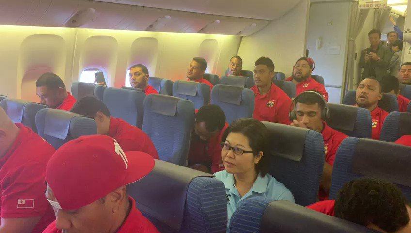 Lovely. The Tongan Rugby team in transit on route to Rugby World Cup match
