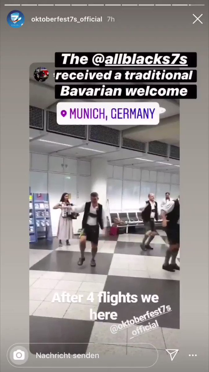 """We welcomed the @AllBlacks7s for the @Oktoberfest7s in Munich with our version of the traditional Haka, it's called the """"Schuhplattler"""". Maybe there will be a dance battle between the Kiwis and the Wolfpack in the Olympic Stadium on Sunday!"""