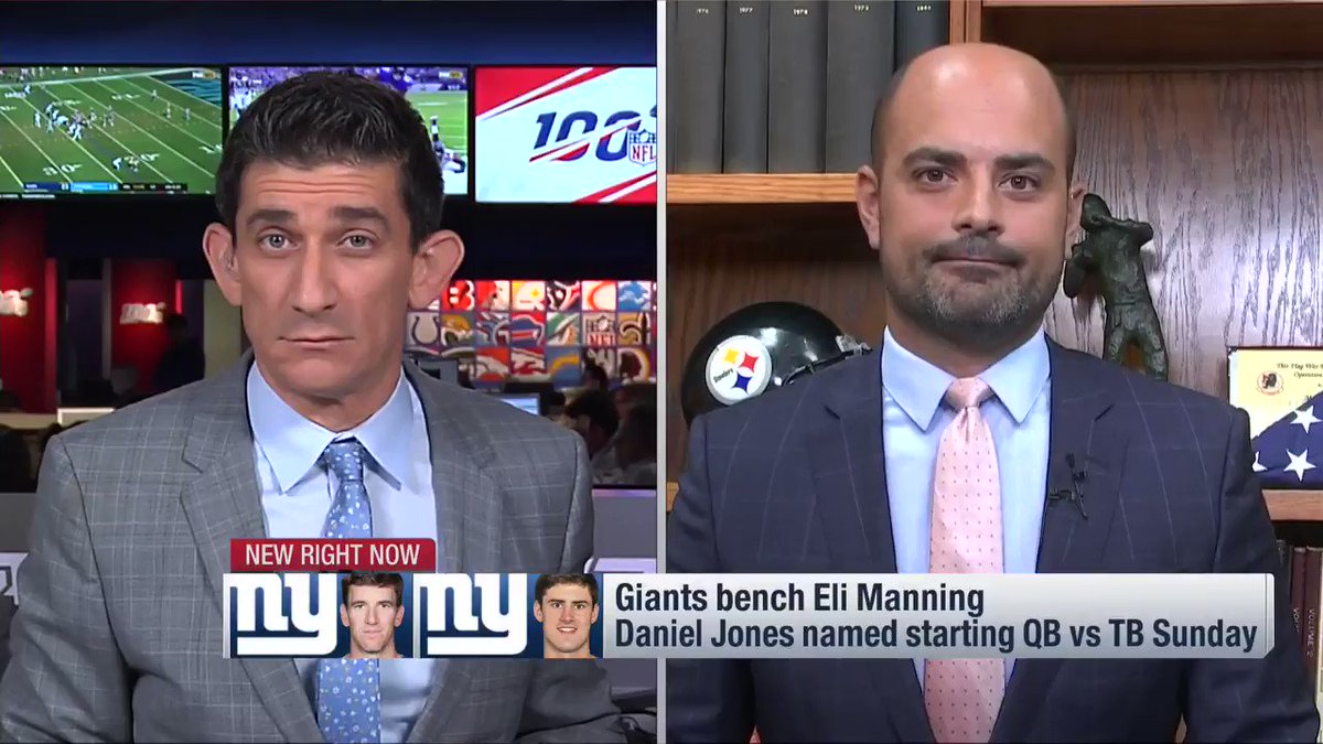 From NFL Now on @nflnetwork a short while ago from Pittsburgh, where I'm stationed to cover news on one franchise QB drafted in 2004 but spent some time talking about another in the #Giants' Eli Manning. https://t.co/z95fSTTsUL