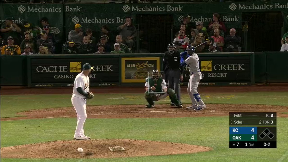 CB Bucknor, the god of the strike zone, giveth and he taketh away. First, he forgave @solerpower12 on a pitch that should've been a strikeout. The next pitch, he condemned Soler to the bench on a pitch outside.Bucknor missed 21 calls on the night. #Athletics v #Royals