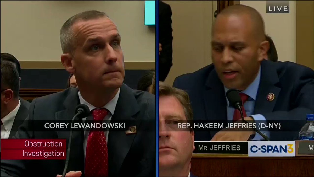 Wow. @RepJeffries catches Lewandowski in a demonstrable lie regarding his comments about taking dictation for Trump