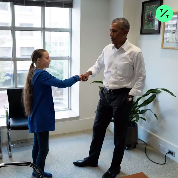 Two of my favorite people on the planet. 🤗 16-year-old climate activist @GretaThunberg met with @BarackObama in D.C. today.