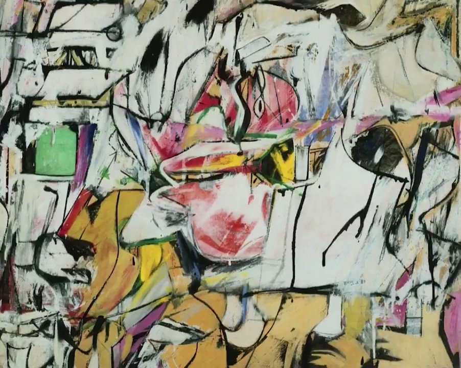 Heres an actual Willem de Kooning. Try watching the 3D version and then looking at the original flat painting here: artsy.net/artwork/willem… Does anyone else see depth even in the original now? I cant unsee it. 😶