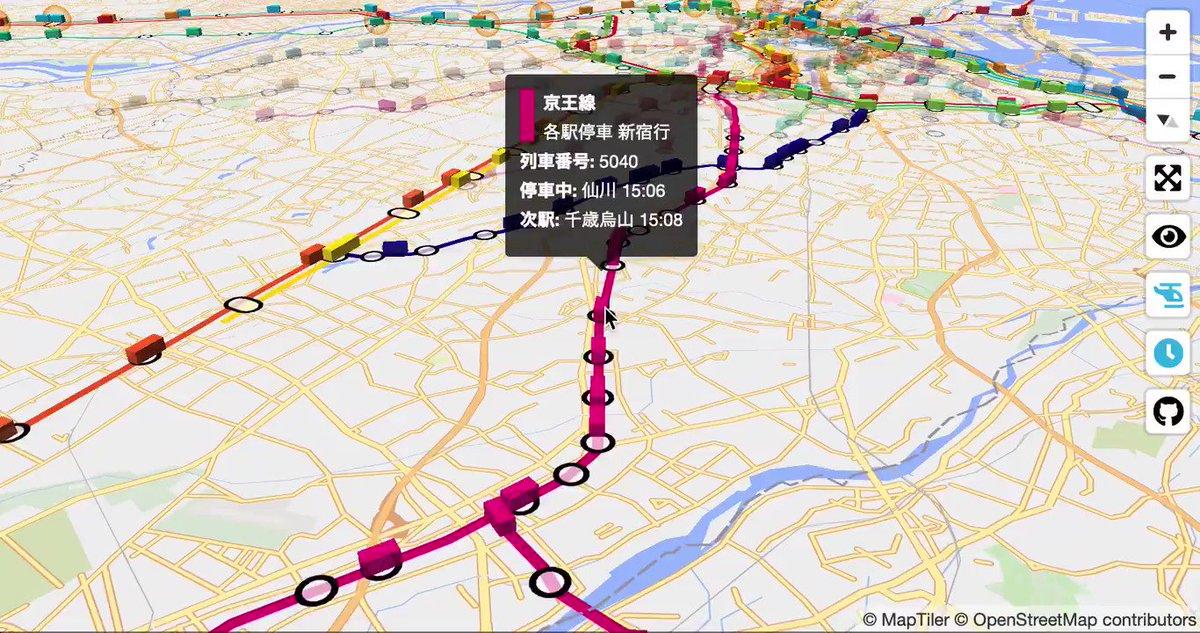 京王線、京王新線、相模原線、競馬場線、動物園線、高尾線、井の頭線が全線開通。今更気づいたのは #東京公共交通オープンデータチャレンジ で列車時刻表を提供してるのはJR地下鉄以外だとりんかい線と京王電鉄だけなのね。となるとそれ以外を路線に沿って走らせるの難しい😥