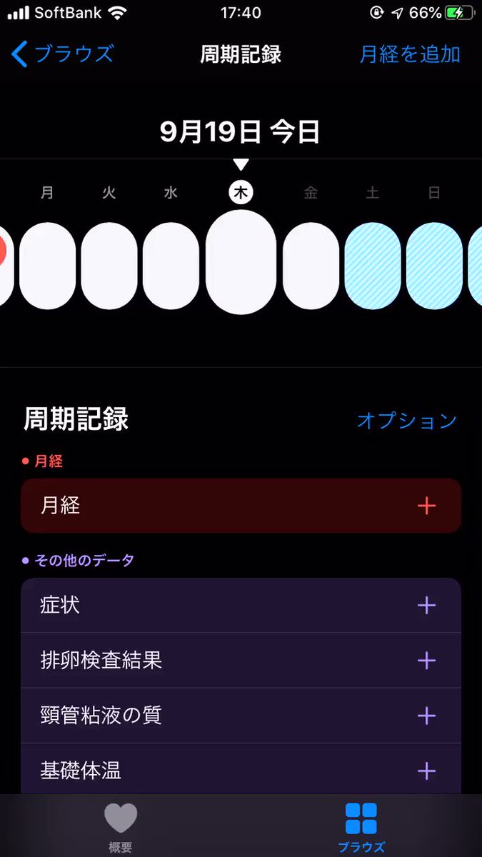 iOS 13で生理周期を記録できるようになるんですけど、こんな感じ…思ったより全然リッチで驚いた…(データは適当に入れたやつです念のため…)