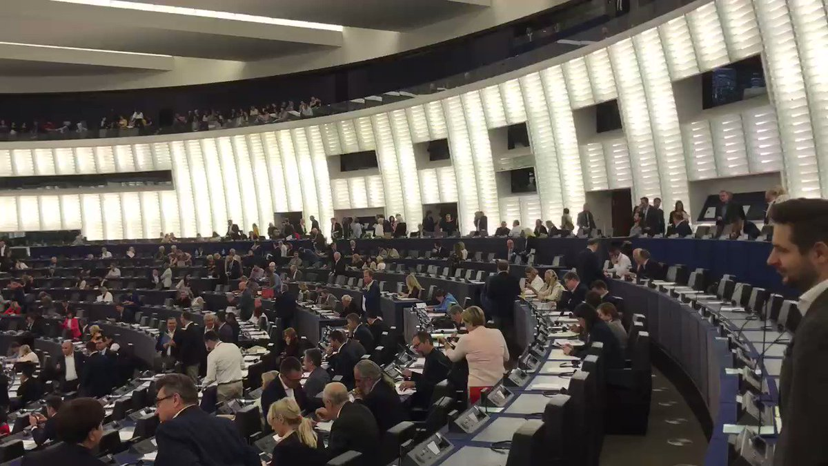 The @brexitparty_uk have been in Parliament all morning for debates   Look how it suddenly fills up with other MEPs who claim their €320 just for turning up to a 10-minute vote  And you are paying for their croissants! 🥐 😫