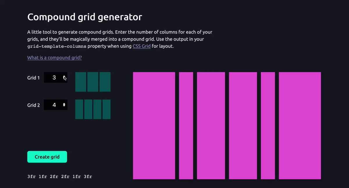 Made some improvements to the compound grid generator. I'm sure I'll tweak it in the coming weeks, but it's now public! ✨ Check it out here: codepen.io/michellebarker…