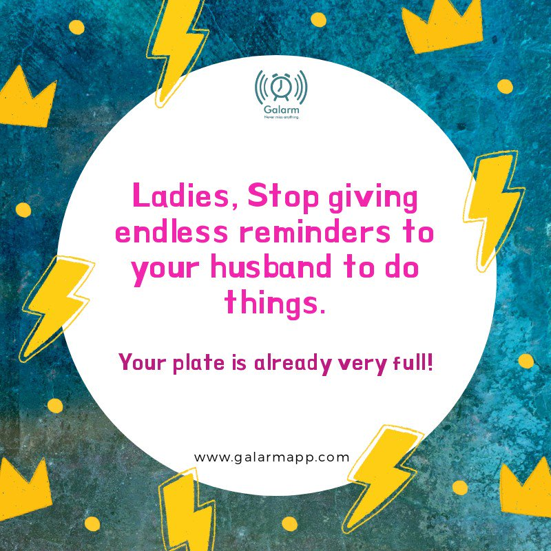 𝐏𝐮𝐭 𝐚𝐧 𝐞𝐧𝐝 𝐭𝐨 𝐜𝐡𝐨𝐫𝐞 𝐰𝐚𝐫 𝐰𝐢𝐭𝐡 𝐆𝐚𝐥𝐚𝐫𝐦!#Galarm's #buddy #alarm feature will help you to make your #husband remind all the important #chores.Download the #free #Galarm #app today (http://bit.ly/galarmapp).