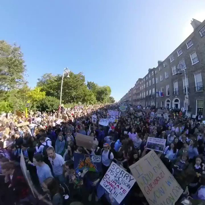 A view through the crowds... #ClimateStrike protestors gathered at Merrion Square, Dublin #FridaysForFuture