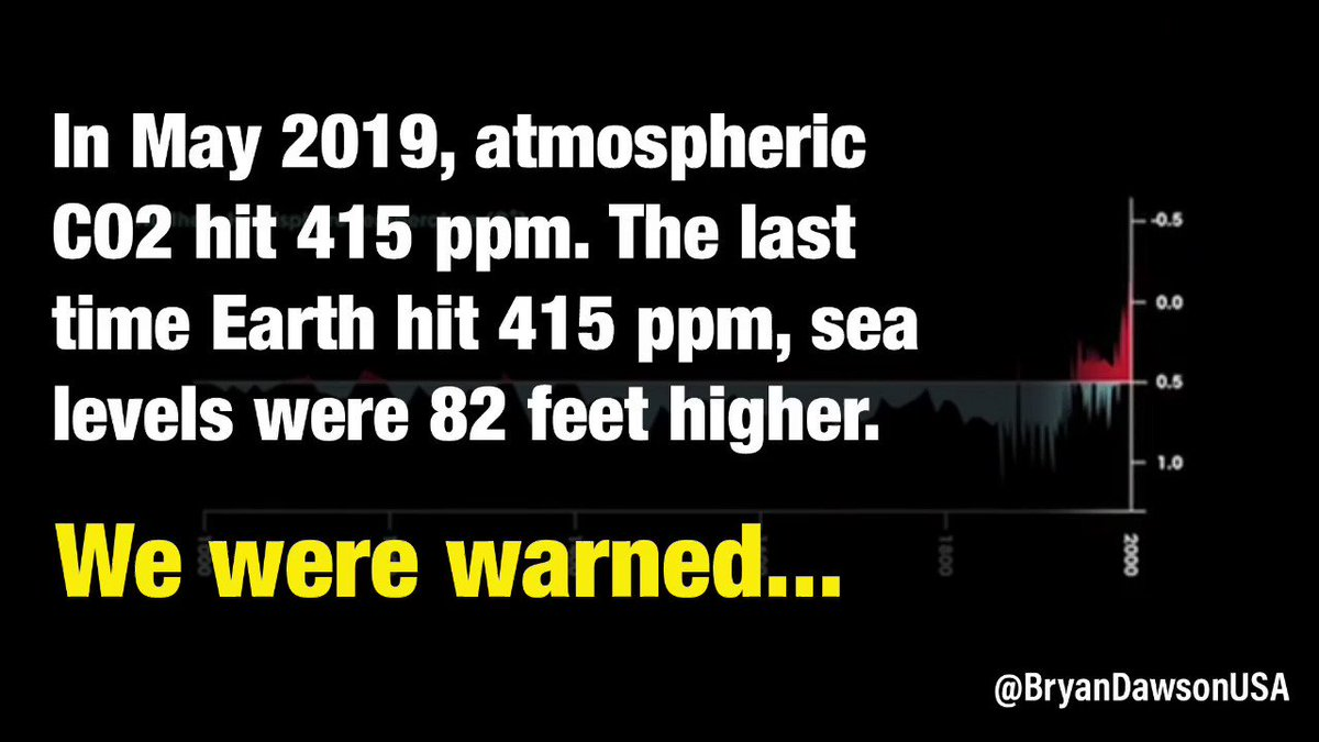 As young people try to get adults destroying their planet to listen, a reminder: While temps set records, fires burn, glaciers melt, crops fail, seas rise, & floods kill, atmospheric carbon passed 415ppm for first time in 3 million years. Seas were 82 ft higher. @GretaThunberg