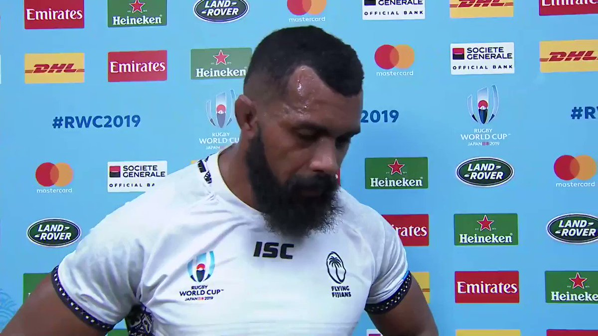 Disappointed, but proud of the first half performance with plenty to build on 💪 Hear from @fijirugby skipper Dominiko Waqaniburotu as he reflects on a pulsating #AUSvFIJ clash #RWCSapporo #RWC2019