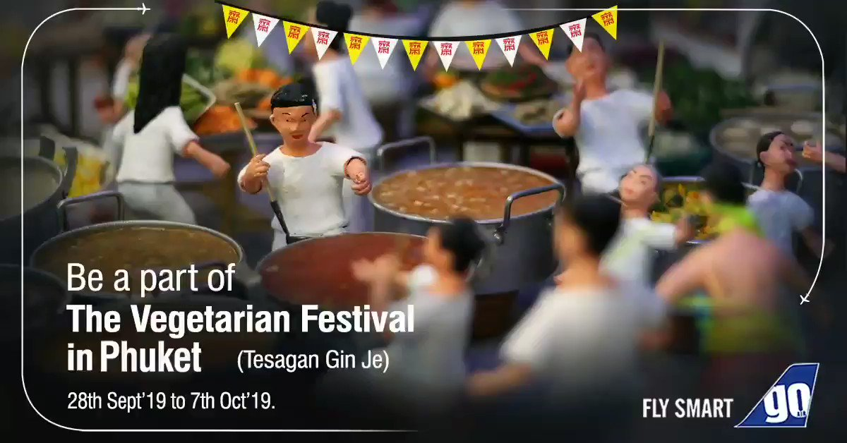 Visit the most awe-spicious festival in #Thailand.Tantalise your taste buds with a variety of vegetarian street food delicacies at The Vegetarian Festival in #Bangkok and #Phuket.Book your daily direct flights now: https://bit.ly/2kLH24O