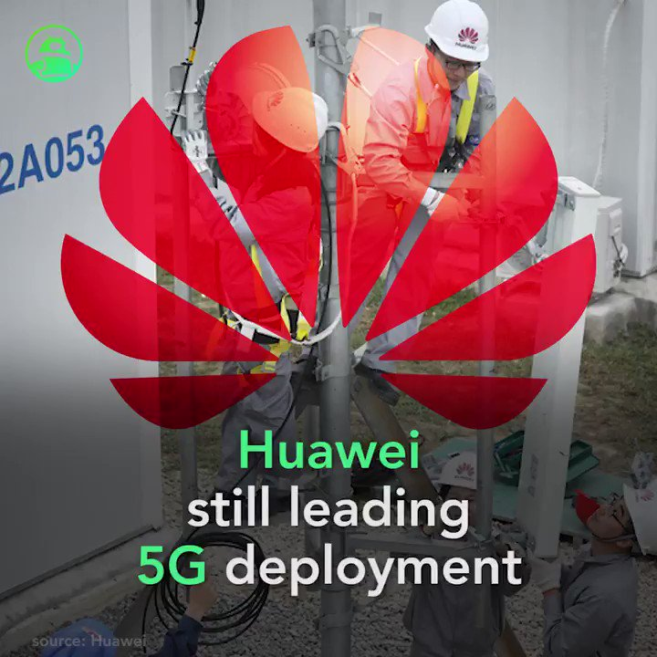 Image for the Tweet beginning: Huawei still leading 5G deployment,