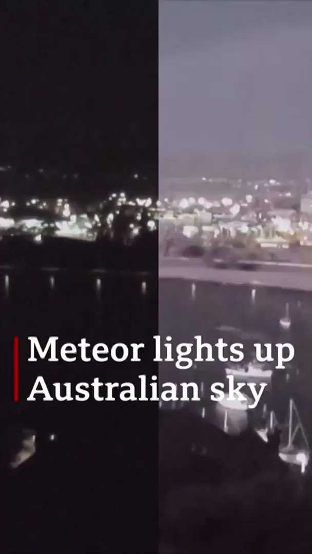 The moment the sky above Tasmania and Victoria in Australia, was lit up by a meteor ☄️ [tap to expand] http://bbc.in/30CKuNV