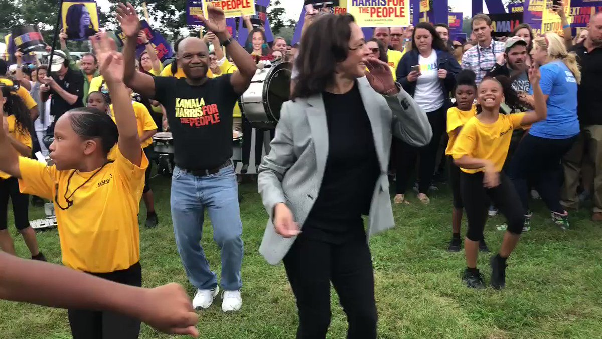.@KamalaHarris enters the Steak Fry in Des Moines