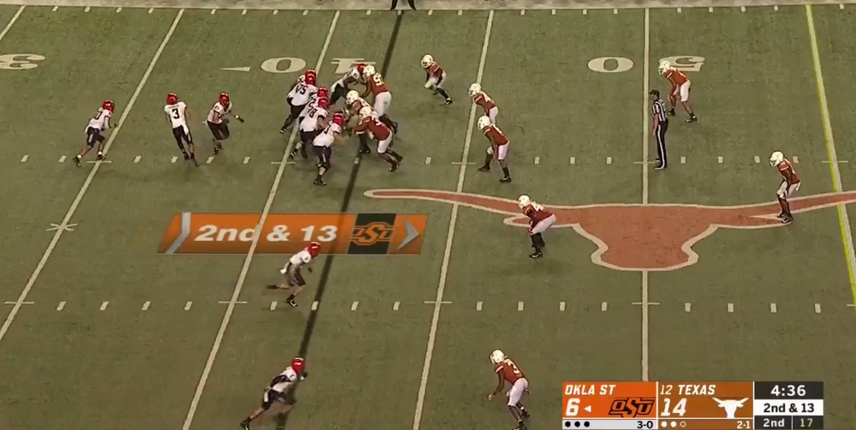 Spencer Sanders tossing a 60-yard bomb. What a throw.