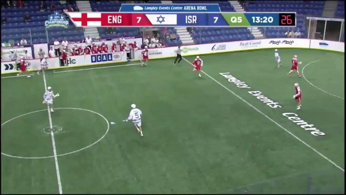 Israel's Adam Fishman calls GAME!!! Israel defeats England, 8-7 in sudden death overtime. @WILC2019 @Israel_Lacrosse @englacrosse