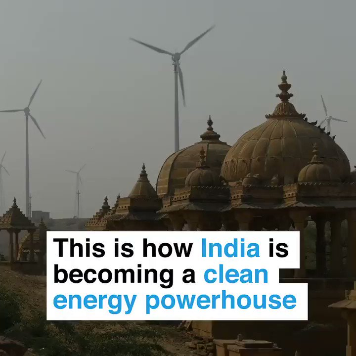 India was entirely dependent on coal. Its reinvented itself as threats of pollution and climate change increased. Now: ->3 of worlds 5 biggest solar farms ->1 state with more renewables than Denmark ->5th highest share of renewables in world ->Solar and wind half price of coal