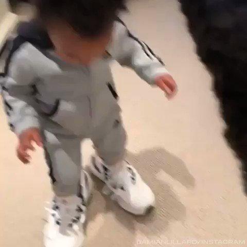 Take it from Damian Lillard Jr., its not easy filling dads shoes 😂 (via @Dame_Lillard)