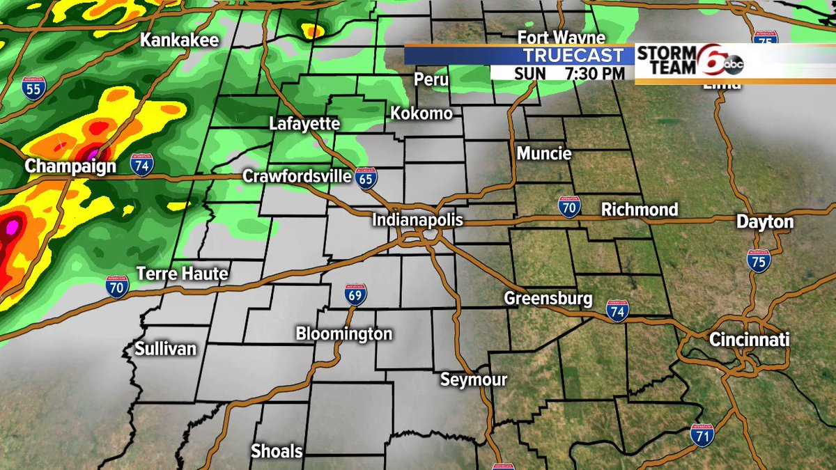 Rain and tstorms are still expected to move through the area tonight. Heres a look at the timing: #INwx @rtv6