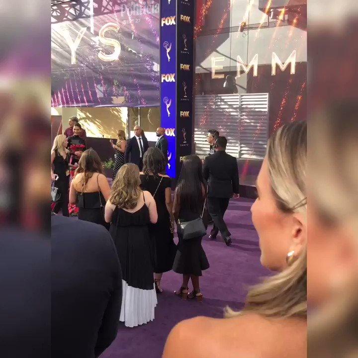 .@KendallJenner  and @KimKardashian  shutting down the #Emmys  carpet! Almost showtime!