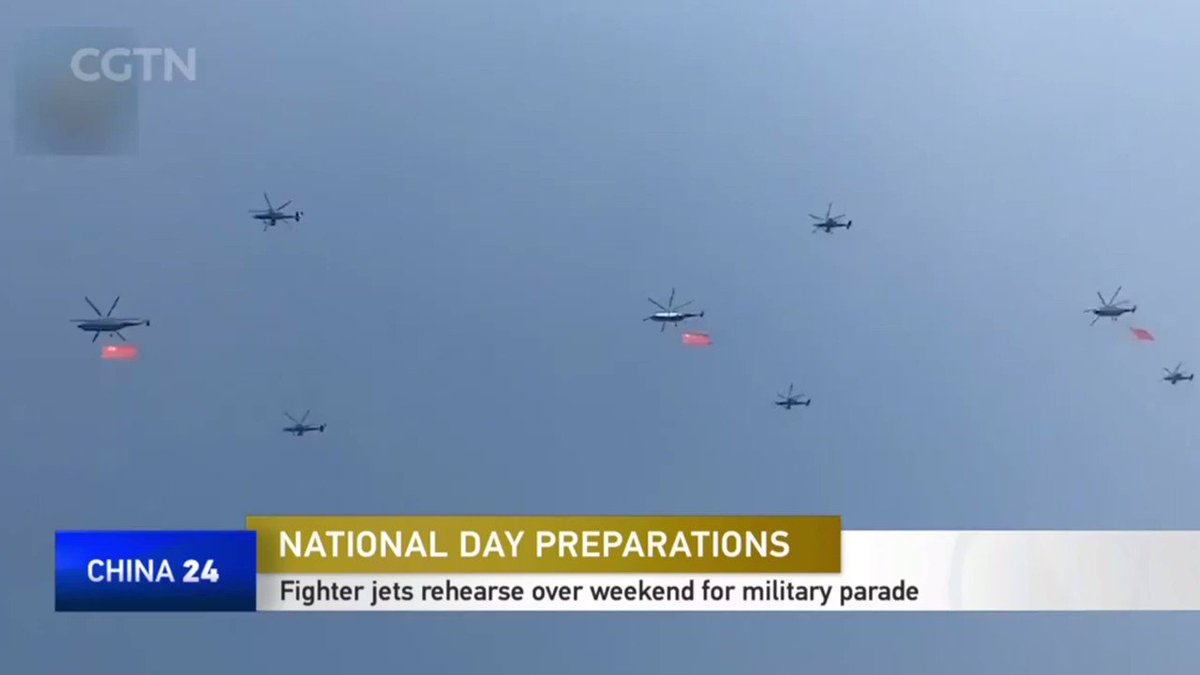 VIDEO: Videos of a weekend rehearsal for the National Day military parade on October 1 have been circulating on social media. Fighter jets zoomed across the skies over Beijing on Sunday as part of the parade rehearsals to the delight of residents. #China #Jet
