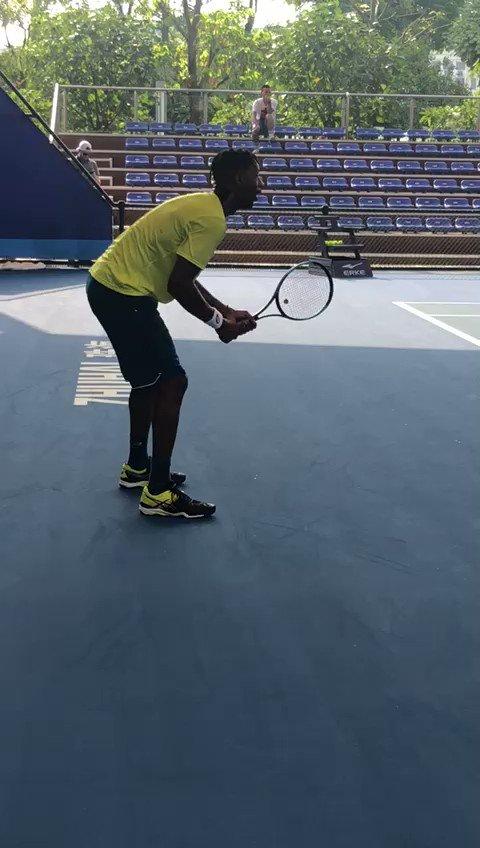 #ATPTour RT ZhuhaiChampions: Spotted: Gael_Monfils  practicing at #ZC19. 👀 ATP_Tour