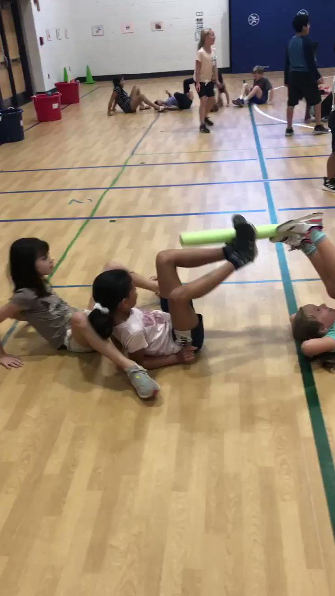 "3rd graders playing ""Boil the Spaghetti"" during their cooperative games unit. Students must work together to get the spaghetti noodles in the pot without using their hands! <a target='_blank' href='https://t.co/kiPlUkznep'>https://t.co/kiPlUkznep</a>"