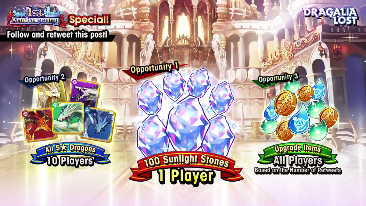We're celebrating the First Anniversary of #DragaliaLost! Follow and retweet this post for a chance to win the following prizes! 1. Upgrade items based on the number of RTs (all players) 2. All 5★ dragons (10 players) 3. 100 sunlight stones (1 player)