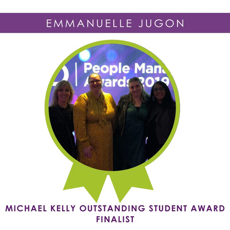 Congratulations Emmanuelle on becoming a finalist for the #CIPDPMAS19 Michael Kelly Outstanding Student Award! @Accorhotels @CIPD 🎉🌟