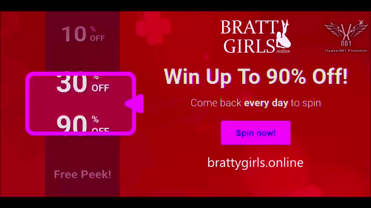 🎲🎰Its time to SPIN & WIN‼️TWICE‼️ EVERY DAY, you'll have 2 chances to try your luck at the WHEEL until SUNDAY🍀 Log on to @Bratty_Girls and spin to win amazing prizes! ▶️brattygirls.online @Models9k @MyFriendonCam @xdespiadado1 @evilbros34 @TheHardDepot @zupergeil40