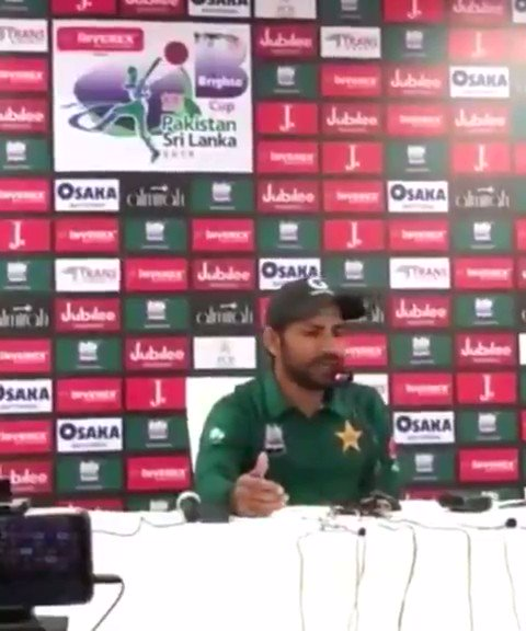 "#WordsOfWisdom by @SarfarazA_54 bhai, ""jub barish hoti hai tou pani aata hai."" 😂😂😂 On a serious note, thank u everyone for buying tickets for the first #PAKvSL ODI, unfortunately the match is abandoned due to rain. Hope to see you all in the next 2 ODIs"