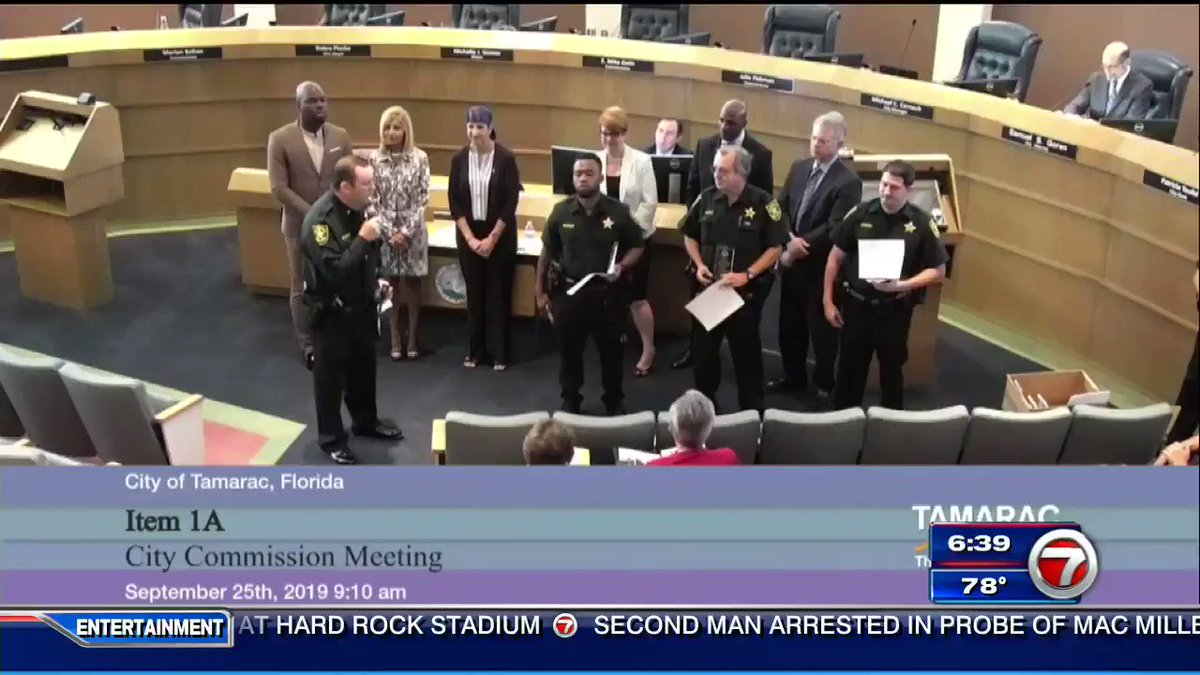 """Watch as Broward County cop Joshua Gallardo is awarded Deputy of the Month in a ceremony on Wednesday when Tamarac city commissioner Mike  Gelin takes the microphone and calls him back down.  """"You're the police officer who falsely arrested me 4 years ago."""""""