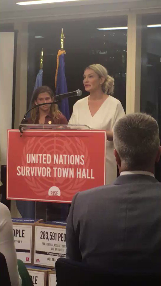 Our board member @SG_Klein at the #UnitedNations #Survivor Town Hall, helping to amplify the voices of other survivors like 12 year old Mimi Wegener shown here bravely speaking about her experience as a #Nassar #SisterSurvivor. So proud and grateful for your life-saving work!